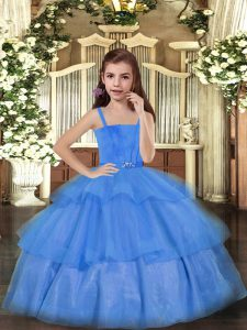 Pretty Straps Sleeveless Lace Up Pageant Dress Womens Blue Tulle