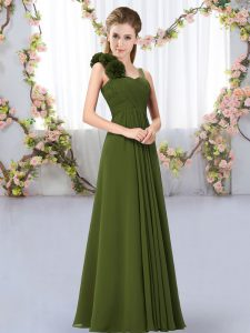Fine Olive Green Chiffon Lace Up Straps Sleeveless Floor Length Dama Dress for Quinceanera Hand Made Flower