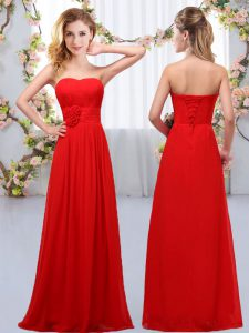 Ideal Red Sweetheart Lace Up Hand Made Flower Quinceanera Dama Dress Sleeveless