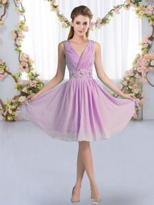 Exceptional Sleeveless Zipper Knee Length Beading Dama Dress
