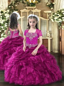 Fuchsia Sleeveless Floor Length Beading and Ruffles Lace Up Little Girl Pageant Dress