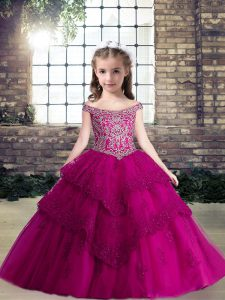 Clearance Fuchsia Sleeveless Beading and Lace and Appliques Floor Length Little Girl Pageant Dress