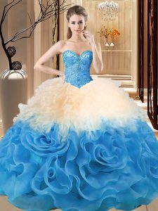 Beauteous Multi-color Organza and Fabric With Rolling Flowers Lace Up Sweetheart Sleeveless Floor Length 15 Quinceanera Dress Beading and Ruffles