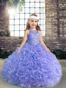 Lavender Sleeveless Beading and Ruffles Floor Length Pageant Dress for Teens