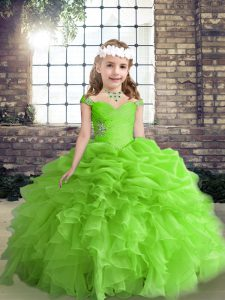 Ball Gowns Straps Sleeveless Organza Floor Length Lace Up Beading and Ruffles and Pick Ups Custom Made Pageant Dress