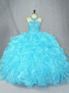 Artistic Baby Blue Scoop Zipper Beading and Ruffles Sweet 16 Dresses Sleeveless