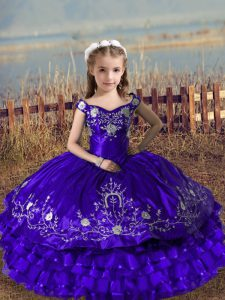 Purple Ball Gowns Embroidery and Ruffled Layers Little Girls Pageant Dress Wholesale Lace Up Satin and Organza Sleeveless Floor Length