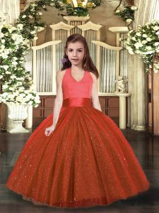Simple Rust Red Sleeveless Floor Length Ruching Lace Up Kids Pageant Dress