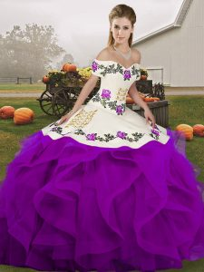 Free and Easy Sleeveless Tulle Floor Length Lace Up Quince Ball Gowns in White And Purple with Embroidery and Ruffles