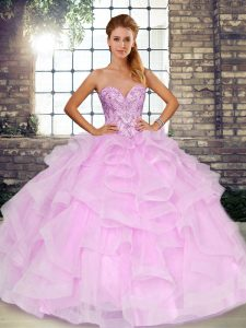 Suitable Floor Length Lilac 15th Birthday Dress Sweetheart Sleeveless Lace Up