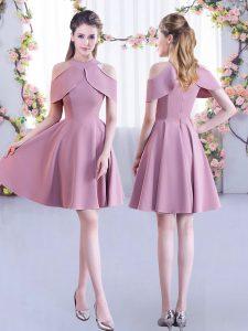 Custom Made Mini Length Lavender Damas Dress Chiffon Short Sleeves Ruching
