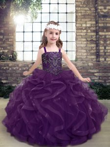 Modest Sleeveless Tulle Floor Length Lace Up Little Girls Pageant Dress in Purple with Beading and Ruffles