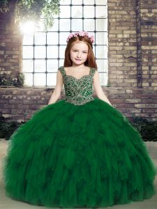 Colorful Dark Green Lace Up Pageant Dress for Teens Beading and Ruffles Sleeveless Floor Length