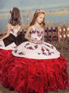 Red Ball Gowns Straps Sleeveless Organza Floor Length Lace Up Embroidery and Ruffles Little Girls Pageant Dress Wholesale