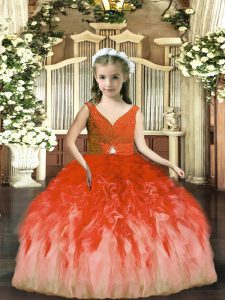 Rust Red Sleeveless Tulle Backless Child Pageant Dress for Party and Sweet 16 and Wedding Party