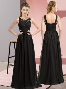 Black Sleeveless Beading and Appliques Floor Length Quinceanera Dama Dress