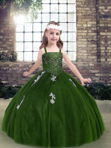 Customized Green Lace Up Straps Appliques Evening Gowns Tulle Sleeveless