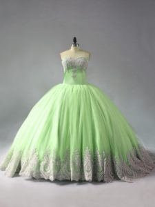 Sleeveless Beading and Appliques Lace Up Quinceanera Dress with Yellow Green Court Train