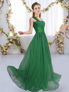 Edgy Dark Green Sleeveless Chiffon Lace Up Quinceanera Court Dresses for Wedding Party