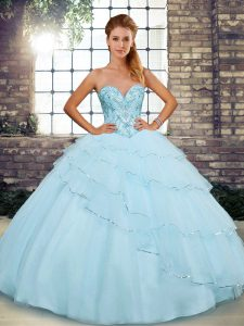 Cheap Light Blue Tulle Lace Up 15 Quinceanera Dress Sleeveless Brush Train Beading and Ruffled Layers