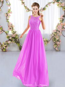 Sleeveless Chiffon Floor Length Zipper Quinceanera Court Dresses in Fuchsia with Lace