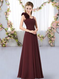 Exceptional Chiffon Sleeveless Floor Length Court Dresses for Sweet 16 and Hand Made Flower