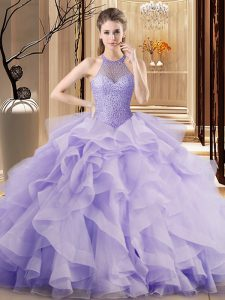 Sleeveless Organza Sweep Train Lace Up Sweet 16 Dress in Lavender with Beading and Ruffles