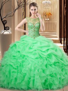 Fashionable Beading and Ruffles and Pick Ups Sweet 16 Quinceanera Dress Lace Up Sleeveless Floor Length