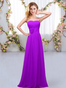 Purple Lace Up Quinceanera Court of Honor Dress Hand Made Flower Sleeveless Floor Length