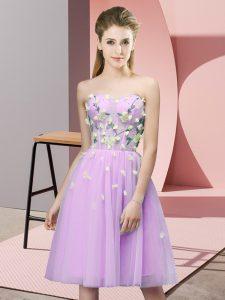 Sweetheart Sleeveless Quinceanera Court Dresses Knee Length Appliques Lilac Tulle