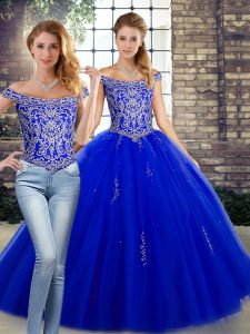 Royal Blue Sleeveless Tulle Lace Up Quinceanera Dresses for Military Ball and Sweet 16 and Quinceanera