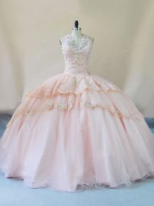 Ball Gowns Sleeveless Peach Sweet 16 Quinceanera Dress Lace Up