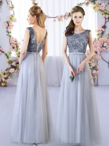 Tulle Sleeveless Floor Length Court Dresses for Sweet 16 and Appliques