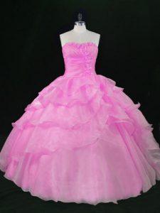 Lilac Sleeveless Hand Made Flower Floor Length Sweet 16 Dresses
