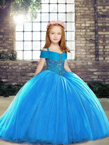 Eye-catching Baby Blue Ball Gowns Straps Sleeveless Brush Train Lace Up Beading Kids Pageant Dress