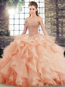 Dazzling Peach Lace Up Sweetheart Beading and Ruffles Quinceanera Gown Tulle Sleeveless Brush Train