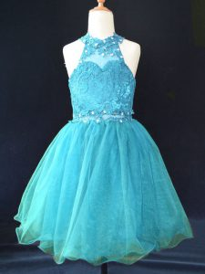 Smart Aqua Blue Halter Top Neckline Beading and Lace Girls Pageant Dresses Sleeveless Lace Up