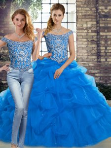Inexpensive Blue Lace Up Quinceanera Gown Beading and Pick Ups Sleeveless Brush Train
