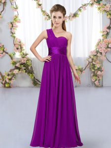 Purple Sleeveless Belt Floor Length Court Dresses for Sweet 16