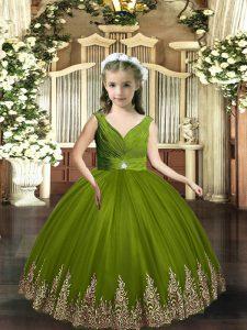 Olive Green Sleeveless Embroidery Floor Length Glitz Pageant Dress