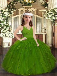 Olive Green Straps Zipper Ruffles Pageant Dress for Girls Sleeveless