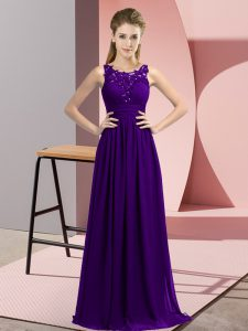 Purple Empire Beading and Appliques Quinceanera Court of Honor Dress Zipper Chiffon Sleeveless Floor Length