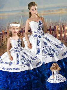 Lovely Blue And White Organza Lace Up Quinceanera Dress Sleeveless Floor Length Embroidery and Ruffles