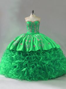 Eye-catching Fabric With Rolling Flowers Sweetheart Sleeveless Lace Up Embroidery and Ruffles Sweet 16 Dress in Green