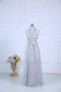 Nice Grey Halter Top Neckline Ruching Court Dresses for Sweet 16 Sleeveless Zipper