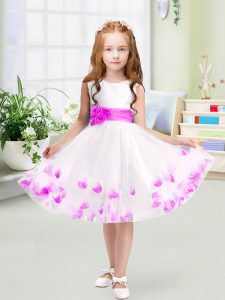 Exquisite Sleeveless Knee Length Appliques and Belt Zipper Pageant Dress with White