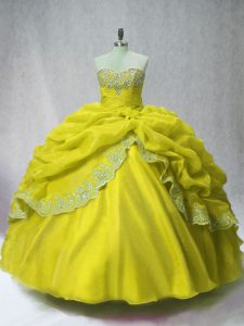 Flirting Organza Sleeveless Floor Length Ball Gown Prom Dress and Beading and Appliques and Pick Ups