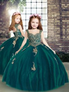Beautiful Peacock Green Straps Lace Up Appliques Girls Pageant Dresses Sleeveless