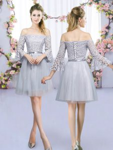 Flirting Grey Empire Tulle Off The Shoulder 3 4 Length Sleeve Lace and Belt Mini Length Lace Up Quinceanera Court of Honor Dress