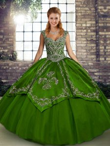 Glittering Olive Green Sleeveless Beading and Embroidery Floor Length Quince Ball Gowns